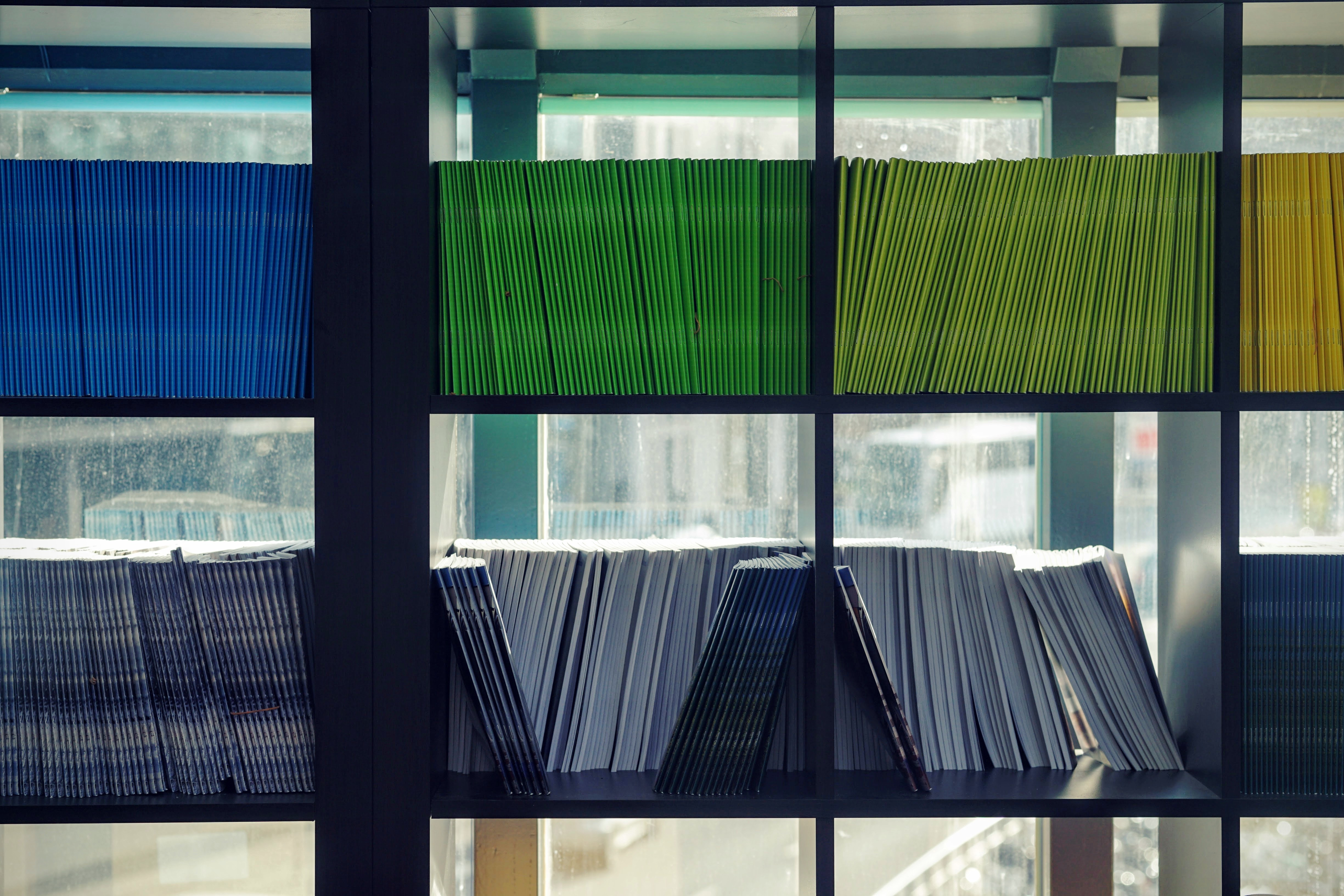 Books on a shelf in a window